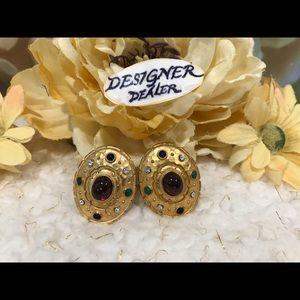 EDGAR BEREBI Oval Crystal & Stone Earrings GUC!